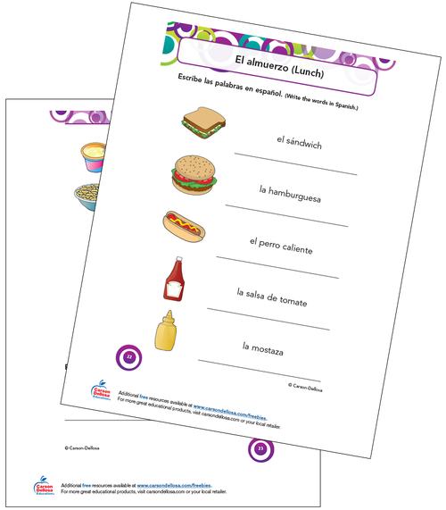 Lunch Vocabulary Grade K-5 Spanish Free Printable Worksheet