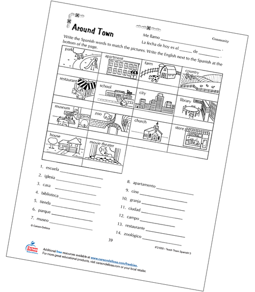 Places Around Town Grade 3 Spanish Free Printable Worksheet