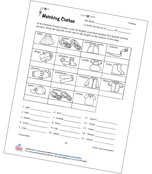 Types of Clothes Grade 3 Spanish Free Printable Worksheet