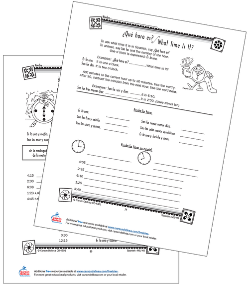Time Vocabulary and Expressions Grade 6-12 Spanish Free Printable Worksheet