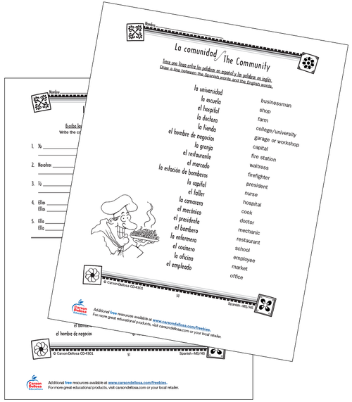 People in the Community Grade 6-12 Spanish Free Printable Worksheet