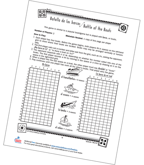 Battle of the Boats Game Grade 6-12 Spanish Free Printable Activity