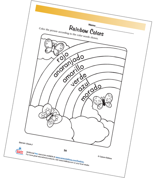 Rainbow Colors Grade 2 Spanish Free Printable Coloring Page