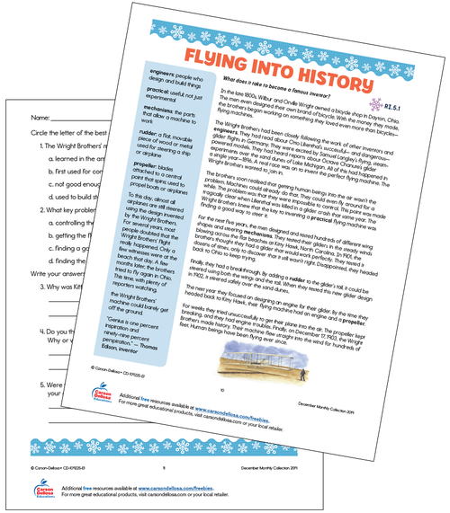 Flying Into History With The Wright Brothers Grade 5 Free Printable Worksheet