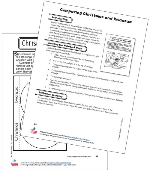Comparing Christmas and Kwanzaa Grade 2 Interactive Free Printable Activity