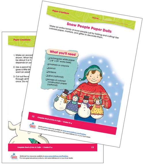 Snow People Paper Dolls Grades K-4 Free Printable Activity