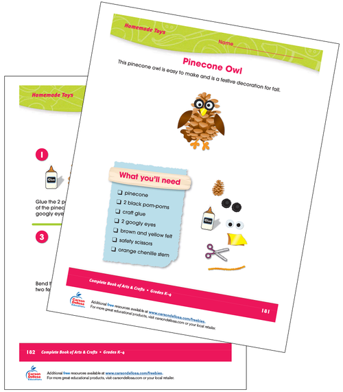 Pinecone Owl Craft Activity Grades K-4 Free Printable Activity