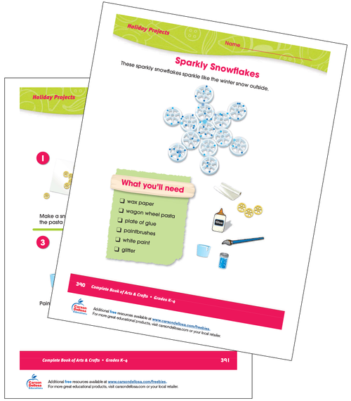 Sparkly Snowflakes Craft Activity Grades K-4 Free Printable Activity