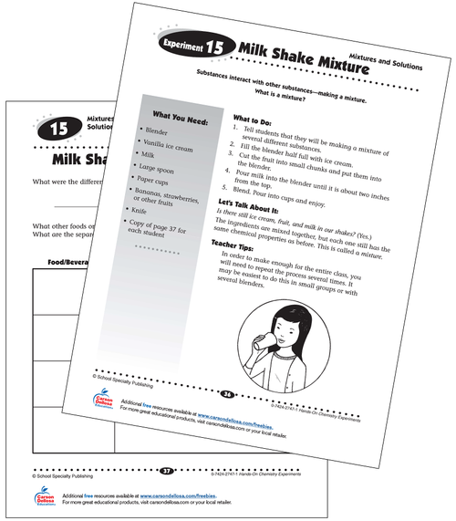 Milk Shake Mixture Experiment Grades 3-5 Free Printable Activity