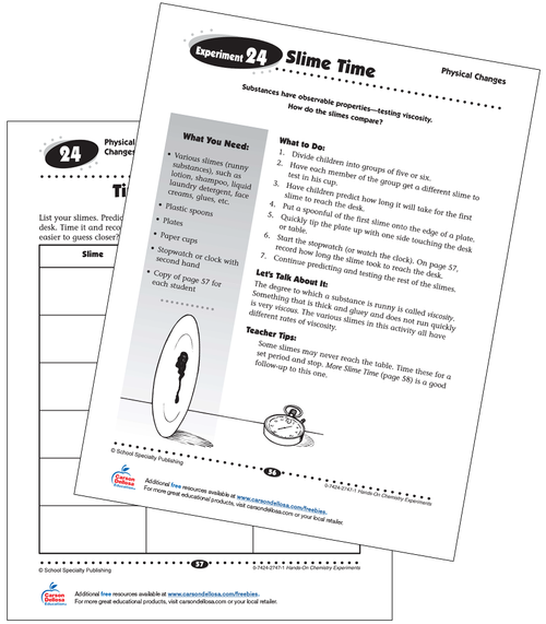Slime Time Experiment Grades 3-5 Free Printable Activity