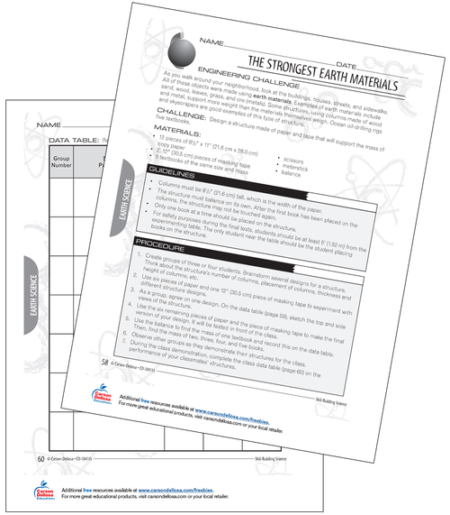 The Strongest Earth Materials Challenge Grades 3-4 Free Printable Activity
