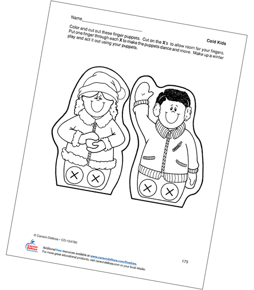 Cold Kids Finger Puppets Grades PK-1 Free Printable Coloring Page