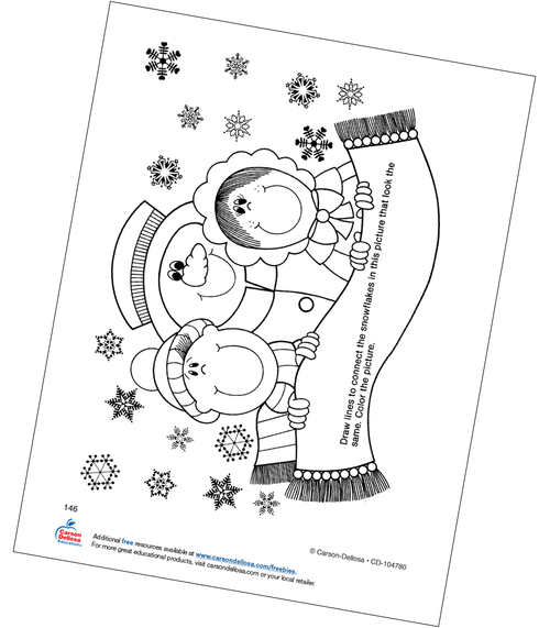 Snowflake Matching Activity Grades PK-1 Free Printable Coloring Page