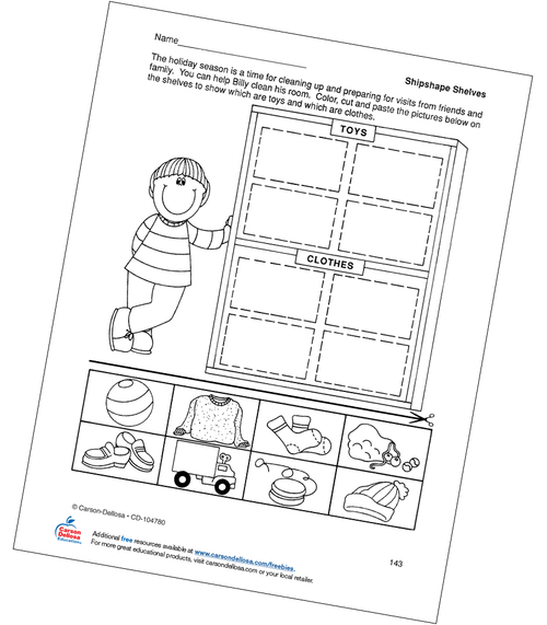 Shipshape Shelves Color, Cut, and Paste Activity Grades PK-1 Free Printable Coloring Page