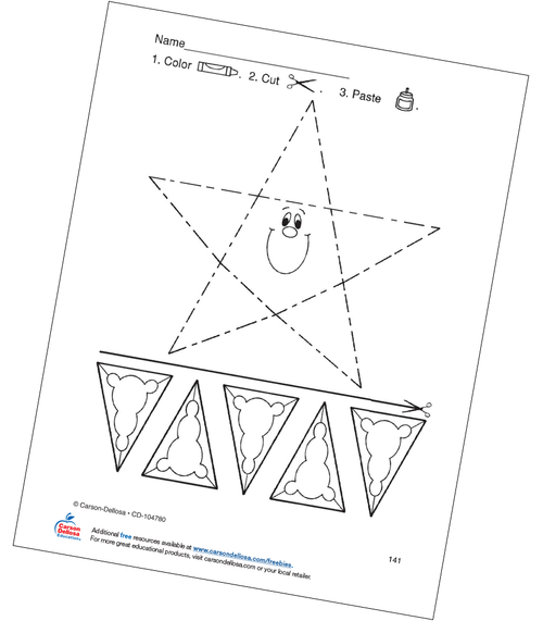 Star Color, Cut, and Paste Activity Grades PK-1 Free Printable Coloring Page