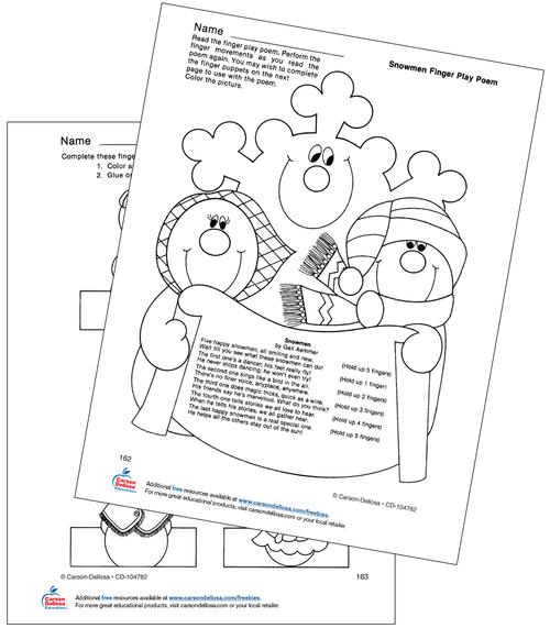 Snowmen Finger Play Poem Grades PK-1 Free Printable Coloring Page