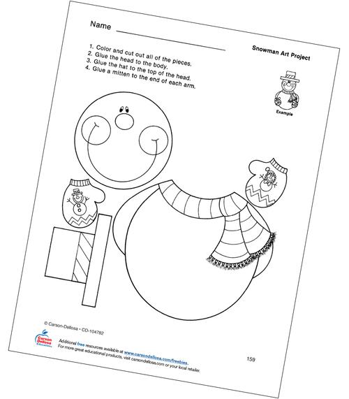 Snowman Art Project Grades PK-1 Free Printable Coloring Page