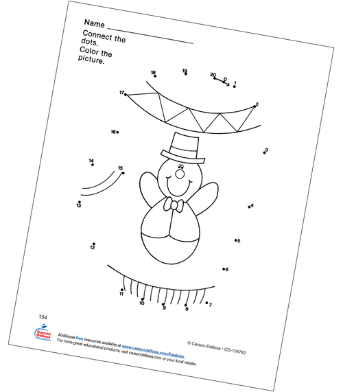 Mitten Connect the Dots Grades PK-1 Free Printable Coloring Page