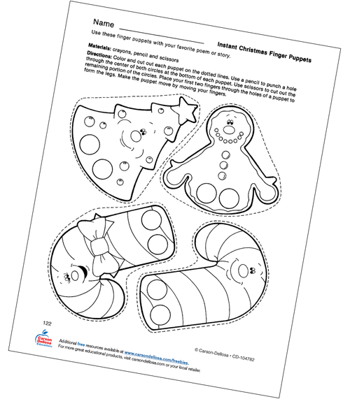 Christmas Finger Puppets Grades PK-1 Free Printable Coloring Page