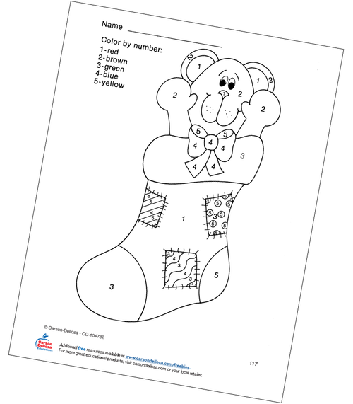 Christmas Stocking Color by Number Grades PK-1 Free Printable Coloring Page
