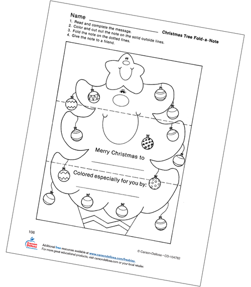Christmas Tree Fold-a-Note Activity Grades PK-1 Free Printable Coloring Page
