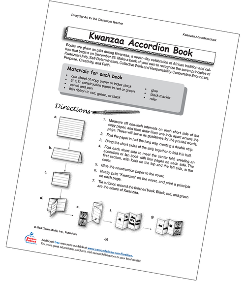 Kwanzaa Accordion Book Grade 4-8 Free Printable Activity