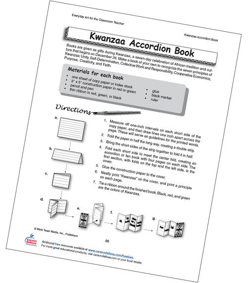 Kwanzaa Accordion Book Grade 4-8 Free Printable Activity