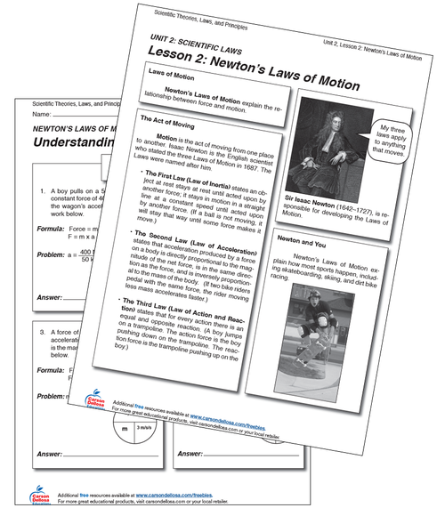 Newton's Laws of Motion Grade 5-12 Free Printable