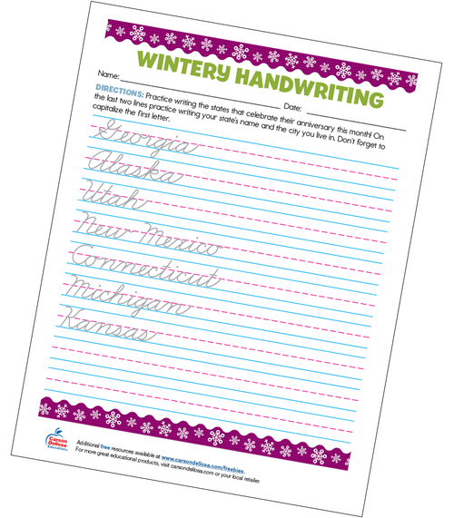 Wintery Cursive Handwriting Grade 5 Free Printable