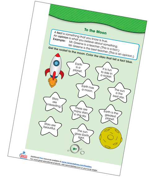 Fact or Opinion: To The Moon Grade K-1 Free Printable