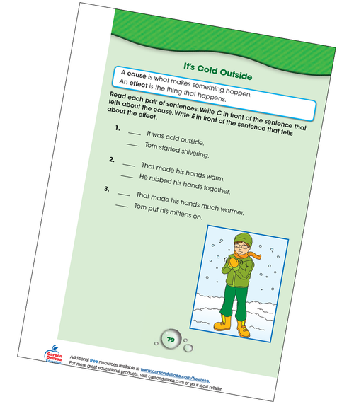 Cause and Effect: It's Cold Outside Grade K-1 Free Printable