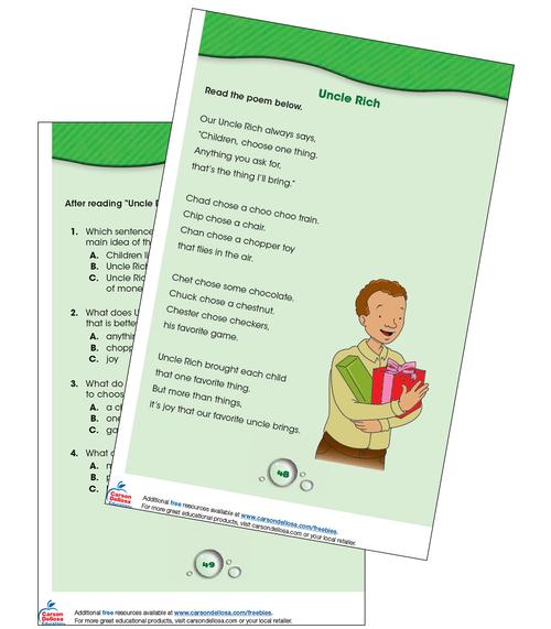Uncle Rich Reading Comprehension Grade K-1 Free Printable