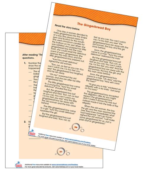 The Gingerbread Boy Reading Comprehension Grade 1-2 Free Printable