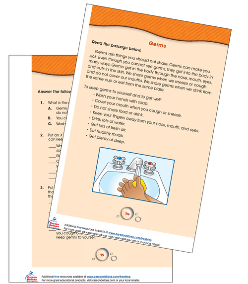 Germs Reading Comprehension Grade 1-2 Free Printable
