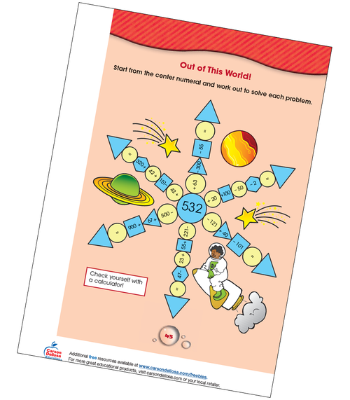 Out of This World Math Practice Grade 2-3 Free Printable