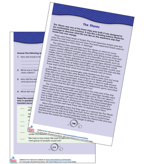 The Titanic Reading Comprehension Grade 3-4 Free Printable