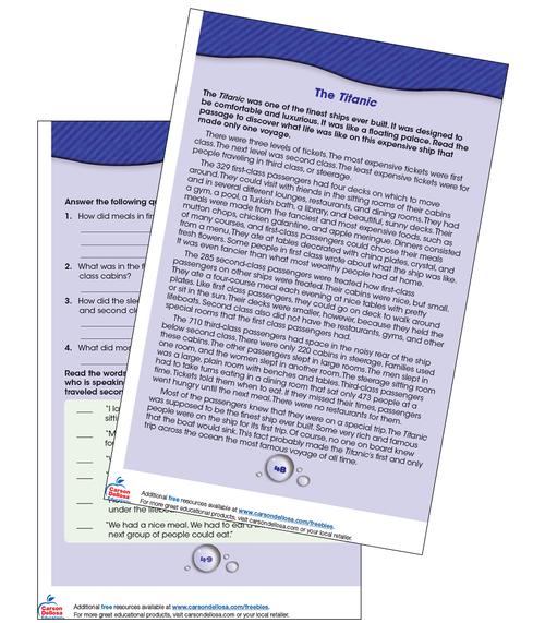 The Titanic Reading Comprehension Grade 3-4 Free Printable