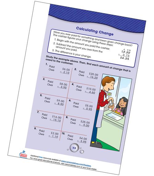Calculating Change Grade 3-4 Free Printable