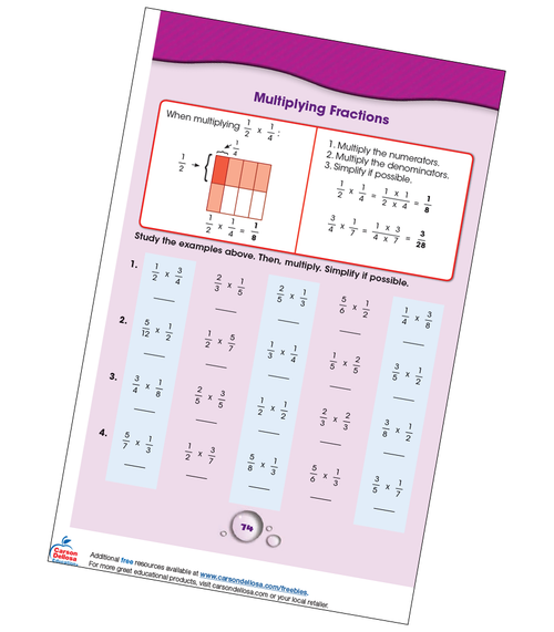 Multiplying Fractions Grade 4-5 Free Printable