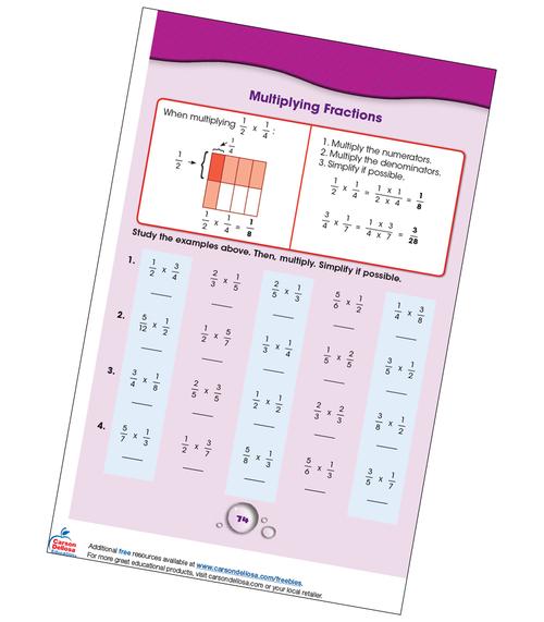 Multiplying Fractions Grade 4-5 Free Printable
