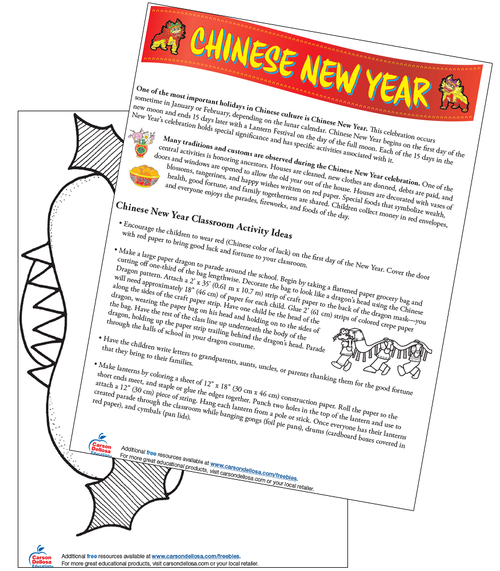 Chinese New Year Grade PK-2 Free Printable