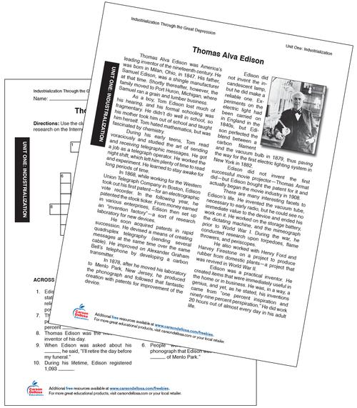 Thomas Edison Grade 6-12 Free Printable