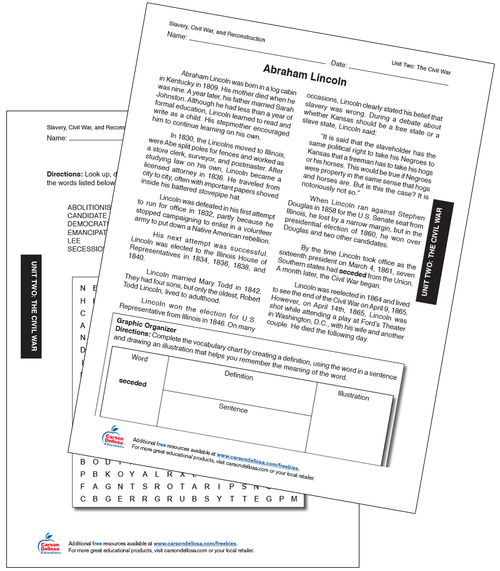 Abraham Lincoln Grade 6-12 Free Printable