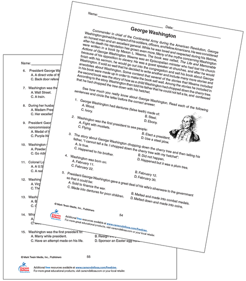 George Washington Grade 5-8 Free Printable