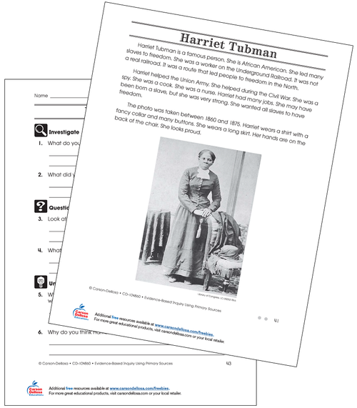 Harriet Tubman Grade 2 (On Grade Level) Free Printable