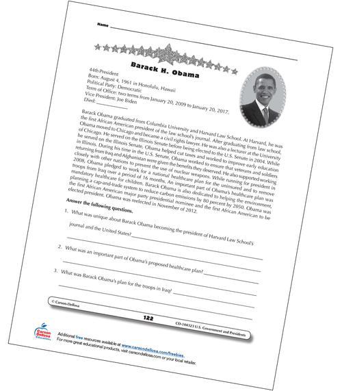 Barack Obama Grades 3-5 Free Printable