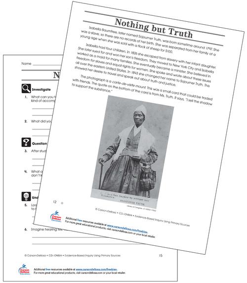 Sojourner Truth Grade 6 (Below Grade Level) Free Printable