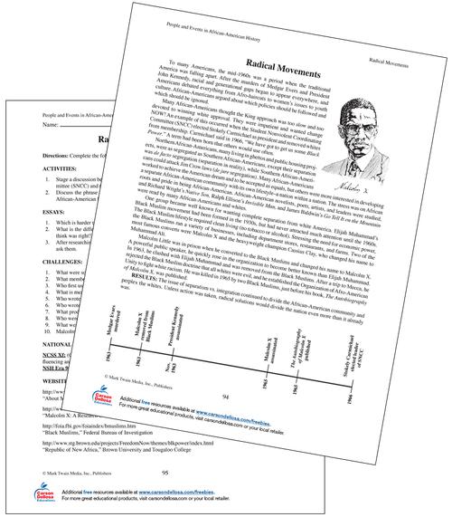 Malcolm X Grade 6 Free Printable