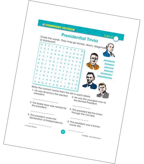 Presidential Trivia Word Search Grade 3 Free Printable
