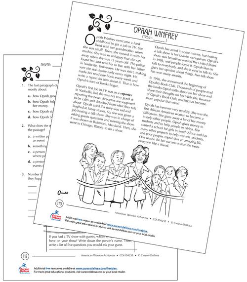 Oprah Winfrey Grades 3–5 Free Printable